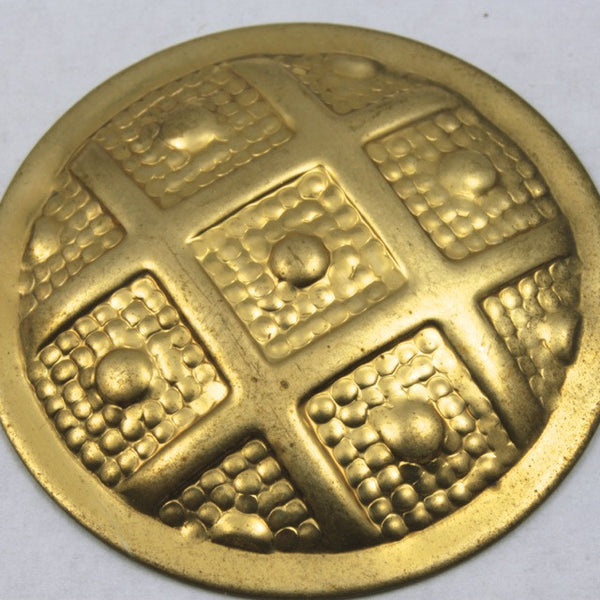 40mm Raw Brass Dapped Gridded Disk