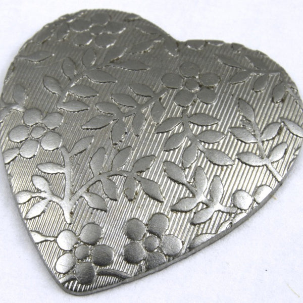 20mm Steel Dapped Heart with Floral Motif