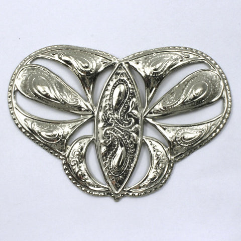 75mm Vintage Silver Butterfly Filigree