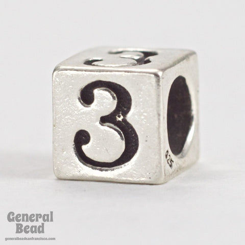 "5mm Sterling Silver ""3"" Number Cube-General Bead"