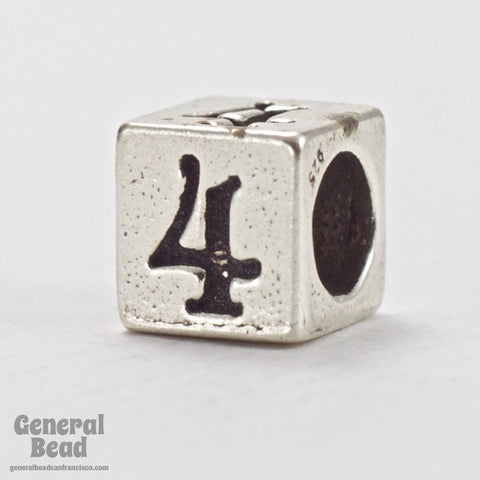 "5mm Sterling Silver ""4"" Number Cube-General Bead"