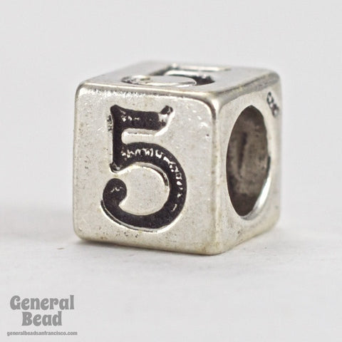 "5mm Sterling Silver ""5"" Number Cube-General Bead"