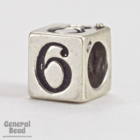 "5mm Sterling Silver ""6"" Number Cube-General Bead"