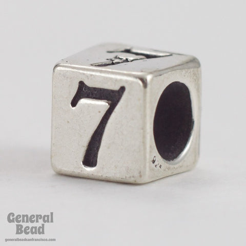 "5mm Sterling Silver ""7"" Number Cube-General Bead"