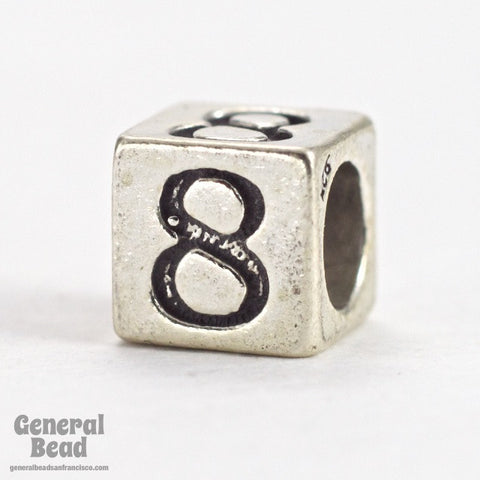 "5mm Sterling Silver ""8"" Number Cube-General Bead"