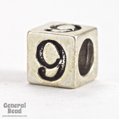 "5mm Sterling Silver ""9"" Number Cube-General Bead"