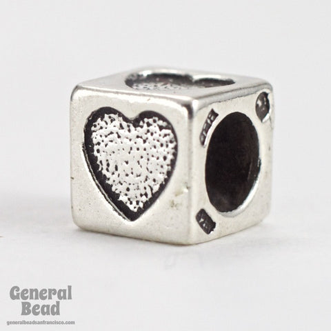 "5mm Sterling Silver ""Heart"" Alphabet Cube-General Bead"
