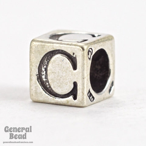 "5mm Sterling Silver ""C"" Alphabet Cube-General Bead"