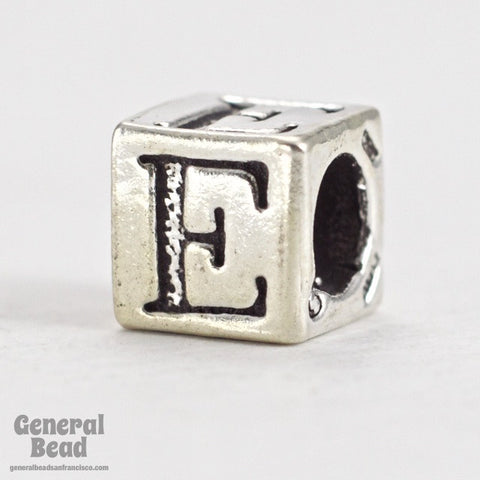 "5mm Sterling Silver ""E"" Alphabet Cube-General Bead"