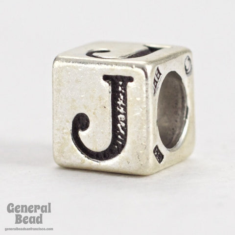 "5mm Sterling Silver ""J"" Alphabet Cube-General Bead"