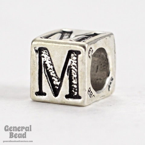 "5mm Sterling Silver ""M"" Alphabet Cube-General Bead"