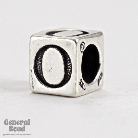 "5mm Sterling Silver ""O"" Alphabet Cube-General Bead"