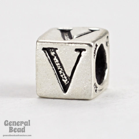 "5mm Sterling Silver ""V"" Alphabet Cube-General Bead"