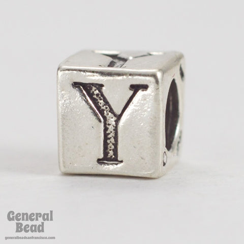 "5mm Sterling Silver ""Y"" Alphabet Cube-General Bead"