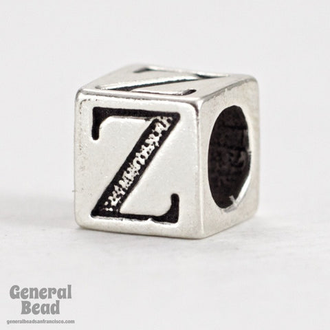 "5mm Sterling Silver ""Z"" Alphabet Cube-General Bead"