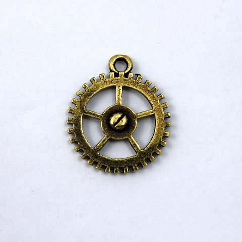 18mm Antique Brass Gear Charm-General Bead