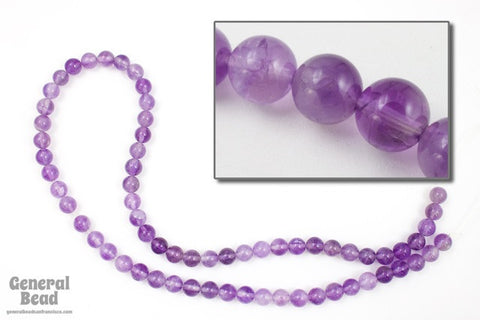 "16"" 6mm Round Light Amethyst Strand #SP132"