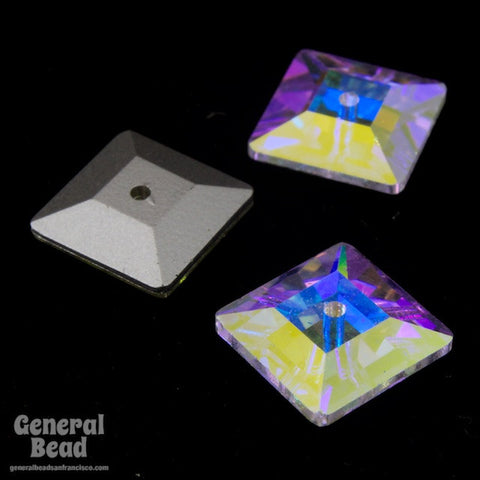 Swarovski 3400 10mm Crystal AB Square Sew-On-General Bead
