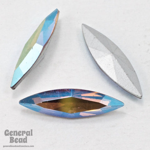 Vintage Swarovski Article 4200 5mm x 18mm Light Smoked Topaz AB Navette-General Bead