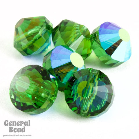 Vintage Swarovski 5101 8mm Green Tourmaline AB Faceted Pill Bead