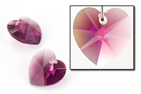 10.3mm x 10mm Swarovski 6202 Amethyst Heart Drop
