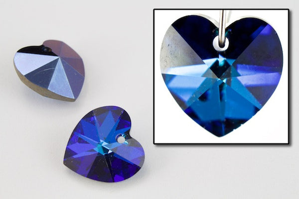 10.3mm x 10mm Swarovski 6202 Bermuda Blue Heart Drop