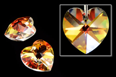 10.3mm x 10mm Swarovski 6202 Crystal AB Heart Drop