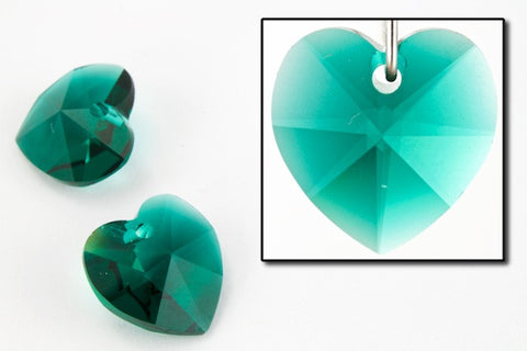 10.3mm x 10mm Swarovski 6202 Emerald Heart Drop