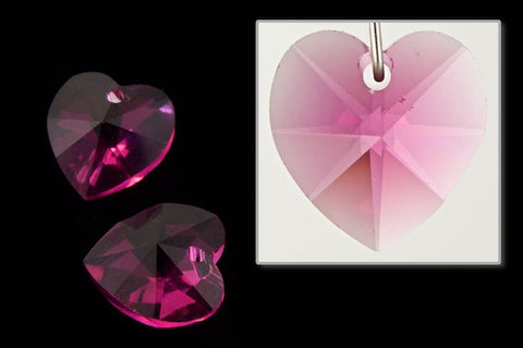 10.3mm x 10mm Swarovski 6202 Fuchsia Heart Drop