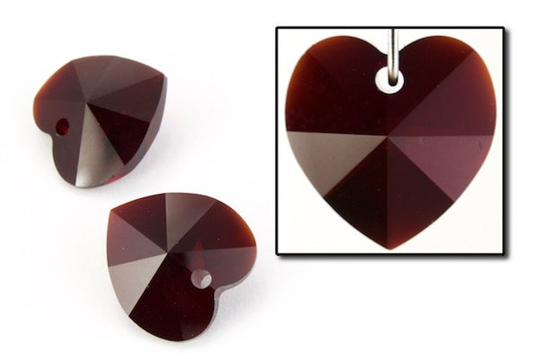 10.3mm x 10mm Swarovski 6202 Garnet Heart Drop