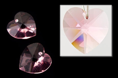 10.3mm x 10mm Swarovski 6202 Light Rose Heart Drop