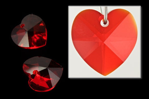 10.3mm x 10mm Swarovski 6202 Light Siam Heart Drop