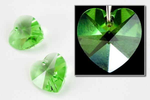 10.3mm x 10mm Swarovski 6202 Peridot Heart Drop