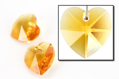 10.3mm x 10mm Swarovski 6202 Topaz Heart Drop-General Bead