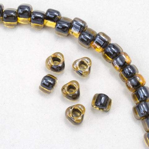 5/0 Black Lined Gold Luster Miyuki Triangle Seed Bead-General Bead