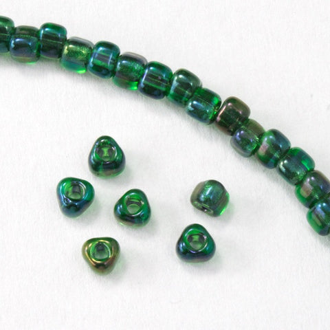 8/0 Transparent Green AB Miyuki Triangle Seed Bead-General Bead