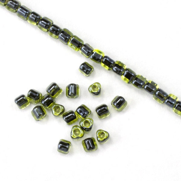 10/0 Black Lined Chartreuse Luster Miyuki Triangle Seed Bead