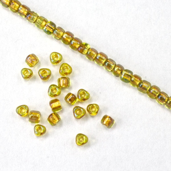 10/0 Gold Lined Chartreuse AB Miyuki Triangle Seed Bead