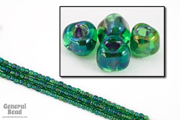10/0 Green Lined Shimmer AB Miyuki Triangle Seed Bead