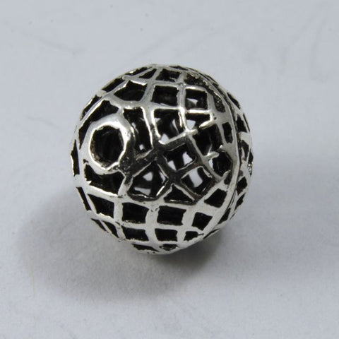 10mm Sterling Silver Round Web Bead #TKS002