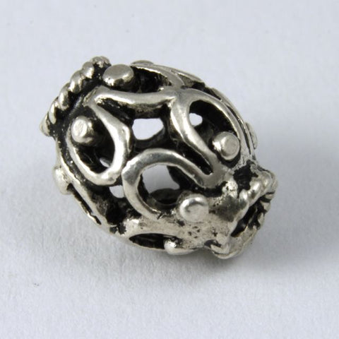 10mm Sterling Silver Filigree Oval Bead #TKS072