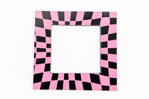 64mm Black and Pink Op- Art Open Square #UP400