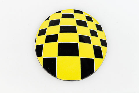 41mm Black and Yellow Op- Art Circle #UP407