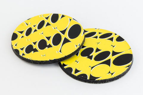 29mm Black and Yellow Op- Art Circle (2 Pcs) #UP408