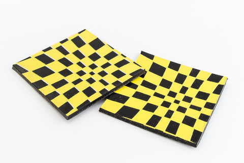 38mm Black and Yellow Op- Art Square #UP409