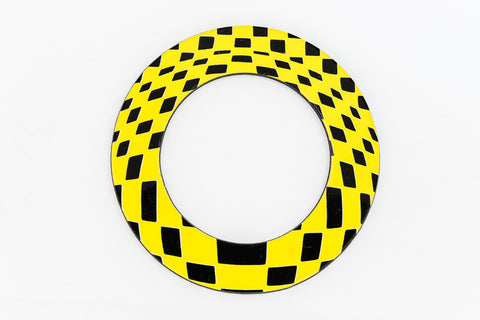65mm Black and Yellow Op- Art Open Circle #UP411