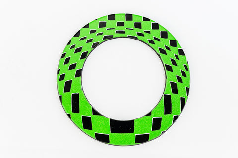 65mm Black and Green Op- Art Open Circle #UP412