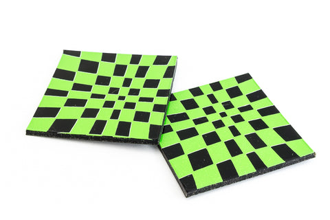 38mm Black and Green Op- Art Square #UP413