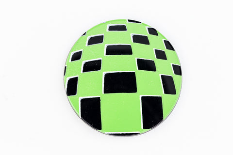 41mm Black and Green Op- Art Circle #UP414