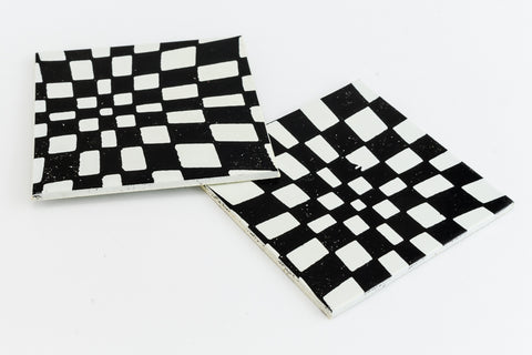 38mm Black and White Op- Art Square #UP418